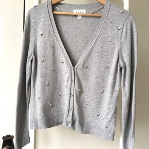 🎁Elle Gray and Crystal cardigan size Large
